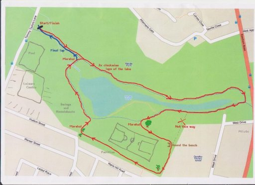 The Parkrun Cheltenham course. 3 laps of the lake.
