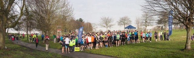 Runners line up at the start of Parkrun Cheltenham