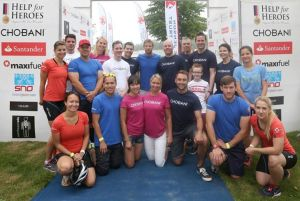 Me, the Chobani team, the other blogging triathletes and some bloke called Jenson.