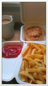 A hard earned lunch of pie and chips, with obligatory post ride steaming mug of tea.