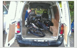 Bikes...and a bit of Greg...in a van.