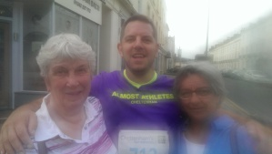 Sadly I'd sweated on the lens at this point, but lovely to get some support from Nan and Mum on the way round :o)