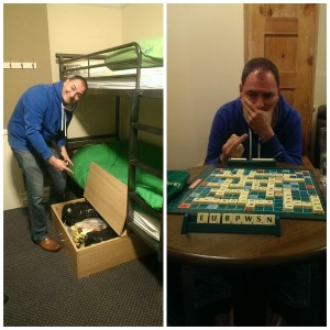Greg was overjoyed about the under bunk storage, less so about losing at Scrabble though.